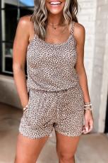 Καφέ Leopard αμάνικο ελαστικό τσέπη στη μέση
