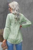 Grøn, flæse, udskåret, blonder, udhulet pufærmet polka-prikbluse