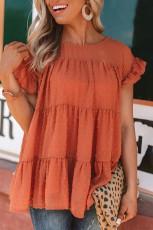 Orange Polka Dot Babydoll Style Flutter Sleeve Top