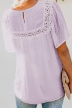 Violet Flutter Sleeves Sheer Textured Babydoll Μπλούζα