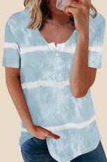 Κοντομάνικο μπλουζάκι Sky Blue με κουμπιά γραβάτα