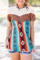 Western Tribal Fashion T-shirt med rund hals