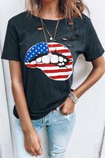 Distressed Crew Neck Flag Element Lip Grafisk T-shirt