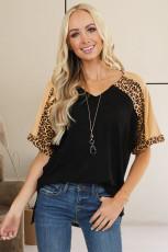 Top de túnica em patchwork de mangas em bloco com estampa de leopardo