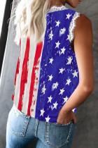 Ριγέ αστέρι αμερικανική σημαία Εκτύπωση V Neck Lace Trim Tank