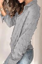 Grå langærmet knap Fuzzy Polka Dot Shirt