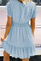 Μίνι φόρεμα με κοντό μανίκι με λαιμόκοψη και μπλουζάκι Sky Blue