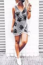 Grå palme blade Print kvast Wrap V-hals Mini kjole
