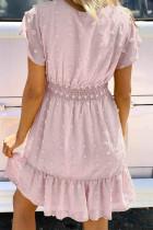 Pink Polka Dot V-hals Ruffled Korte ærmer Mini Kjole