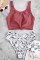 Pink Leopard Print knude høj talje Bikini badedragt