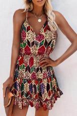 Leopard Rhombus Elastic Smocked Μέση Σπαγγέτι λουράκι μίνι φόρεμα