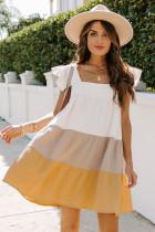 Gul firkantet hals tredobbelt farveblok Tiered Babydoll kjole