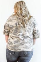 Plusstørrelse Leopard Camo Splicing Twist Knot T-shirt med halv ærme