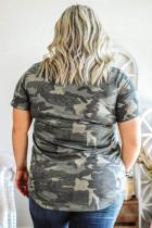 Μπλουζάκι με πούλιες V Neckline Camo Plus