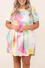 Tie Dye Crewneck Κοντό μανίκι Casual Plus Size φόρεμα