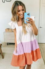Flerfarvet firkantet hals tredobbelt farveblok Tiered Babydoll kjole