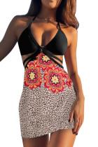 3stk Selvbinding Rem Triangel Bikini med Leopard Floral Sarong