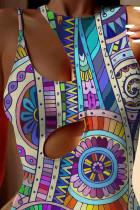 Boho Tribal Print udskåret badedragt