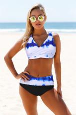 Sky Blue Tie-dye Print Wrap V Neck Lace-up Back Bikini