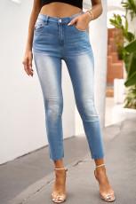 Himmelblå skinny jeans med høj talje og ankel længde