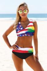 Πολύχρωμη γραβάτα Σημαία Εκτύπωση Περιτύλιγμα V Neck Lace-up Back Bikini