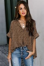 Μπλούζα Leopard Print V Neck Drape
