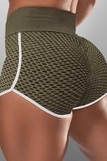 Grøn High Waist Honeycomb Contrast Stripes Butt Lifting Yoga Shorts