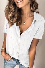 Hvid knapt schweizisk prik Turn-down krave kortærmet skjorte