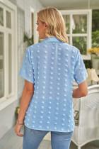 Himmelblå knappet schweizisk prik Turn-down krave kortærmet skjorte