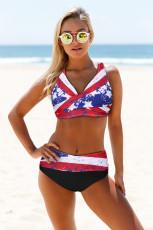 Κόκκινη γραβάτα Σημαία Εκτύπωση Περιτύλιγμα V Neck Lace-up Back Bikini