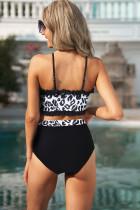 Sort frillet leopard bandeau bikini med høj talje