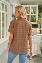 Brun knappet schweizisk prik Turn-down krave kortærmet skjorte