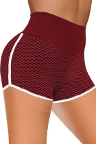 Bourgogne High Waist Honeycomb Contrast Stripes Butt Lifting Yoga Shorts