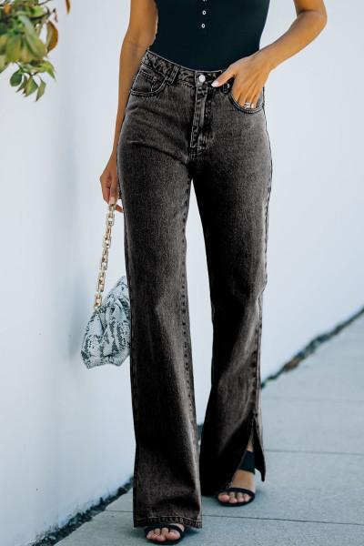 Sort High Rise Slit Anklet Flare Jeans