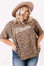 Brun Leopard Print Shift Plus Size Top