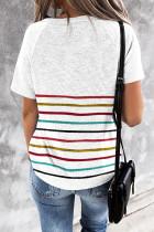 Hvid farverig stribet T-shirt