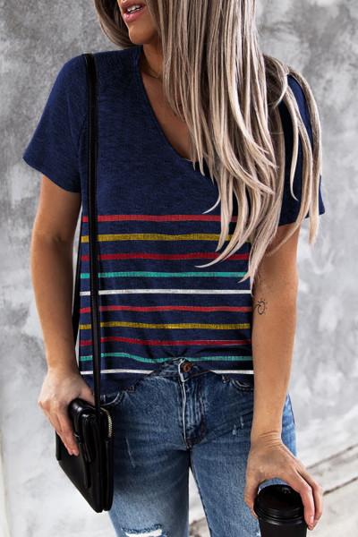 Blå farverig stribet T-shirt