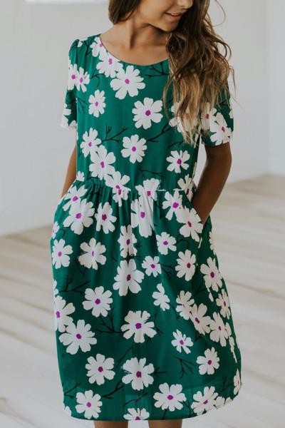 Πράσινες τσέπες κοντό μανίκι Crewneck Floral Girl Midi Dress