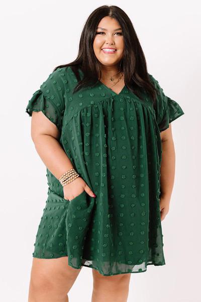 Grøn Plusstørrelse V-hals Flæse Swiss Dot Mini Kjole med lomme