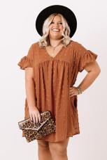 Orange plus størrelse V-hals flæse schweizisk prik mini kjole med lomme