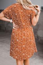 Orange Plus størrelse V-hals Leopardprint kortærmet mini-kjole