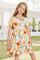 Φόρεμα Midi Floral Girl με κοντό μανίκι σε κίτρινο Crewneck
