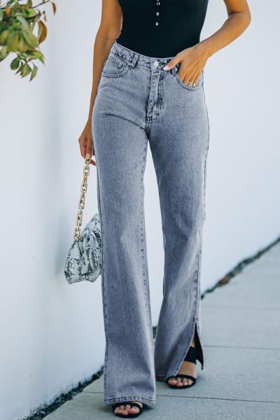 Blå High Rise Slit Anklet Flare Jeans