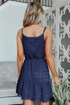 Blå schweizisk prik spaghetti snor mini kjole