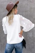 Hvid kimonoærmet strik top med rund hals