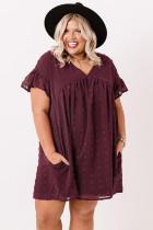 Vinrød plus størrelse V-hals flæse schweizisk prik mini kjole med lomme