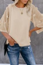 Khaki Crew Neck Kimono ærme strik top