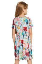 Himmelblå Crewneck kortærmet blomsterpigemidi-kjole