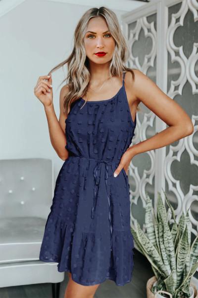 Μίνι φόρεμα με κορδόνι κορδόνι Blue Swiss Dot Spaghetti