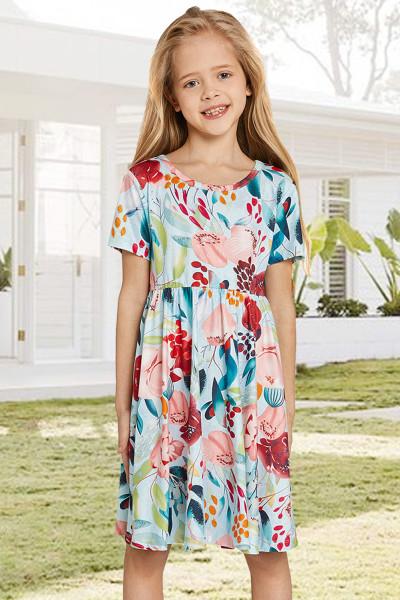Sky Blue Crewneck Κοντό μανίκι Floral Girl's Midi Dress